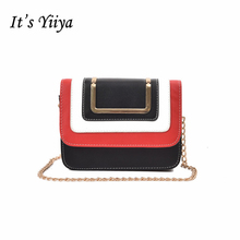 It's YiiYa New Black Red Women HandBag Fashion Casual Chains Panelled England Style Cheap Quality Girls Messenger Bags SS982(China)