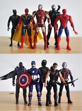 5Pcs/lot The Avengers Superheroes Toy Captain America Hawkeye Ant Man Figure Toys PVC Action Doll Iron Man Thor Captain 15-17cm