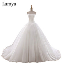 Lamya 0.8M Court Train Wedding Dress 2016 Cheap Celebrity Strapless Vintage Tulle Bridal Ball Gown Organza Lace bridal dresses