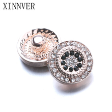 Buy 10pcs/lot Xinnver Snap Jewelry Crystal Rose Gold Flower Metal 12MM Snap Buttons Fit DIY OEM Snap Bracelets Women ZL041 for $2.37 in AliExpress store