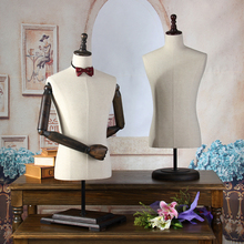 Modern props male half-length three-dimensional cut display rack holder men fabric mannequin with wooden arms(China)