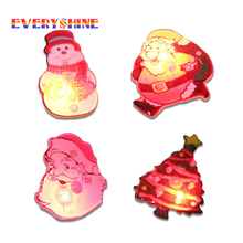 1pcs Lighted Santa Claus Snowman Tree Brooch Christmas Decoration Scarf Clothespins Hanging Ornament Children Gifts SD12(China)