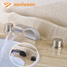 Retail Best Price Dual Handles Three Holes Bathroom Countertop LED light Mixer Taps(China)