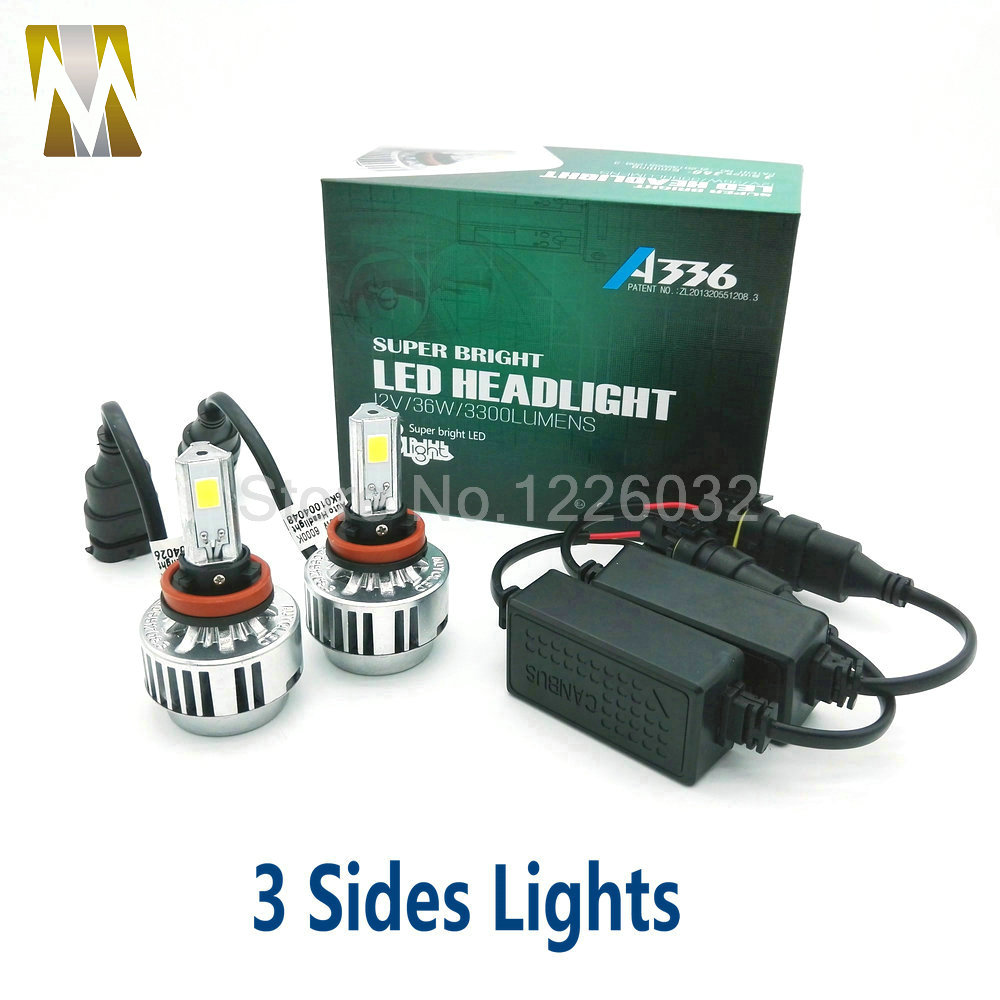 3 Sides Headlamps H8 H9 H11 LED Headlights canbus Error Free 36W 12V Car Head Lamp 360 Degrees COB Chip Light Source 6000k White<br><br>Aliexpress