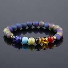 Top Quality Multi-color 7 Chakra Healing Balance Beads Bracelet Yoga Energy Natural Stone Onyx Geode Bracelet Women Men Jewelry