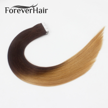 "FOREVER HAIR 2.0g/pc 18"" Remy Tape In Human Hair Extension Omber Color #4T27 20pcs Skin Weft Human Hair For Beauty White Women(China)"