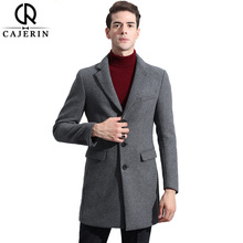 Cajerin 50%Wool Long Trench Coat Men Windbreak Winter Fashion Mens Overcoat Quality Thick Warm Trench Coat Male Jackets(China)