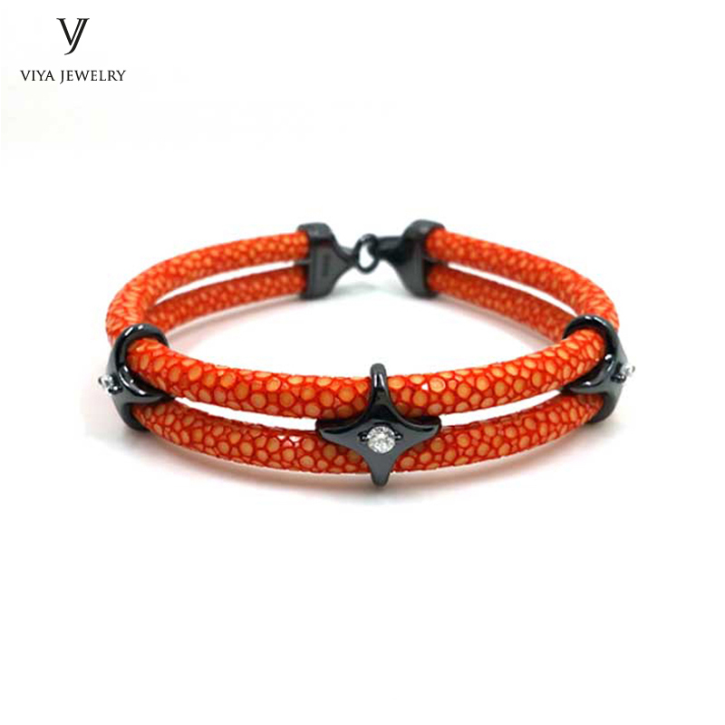 luxury-sterling-silver-star-beads-leather-bracelet-stingray-leather-bracelet-(28)