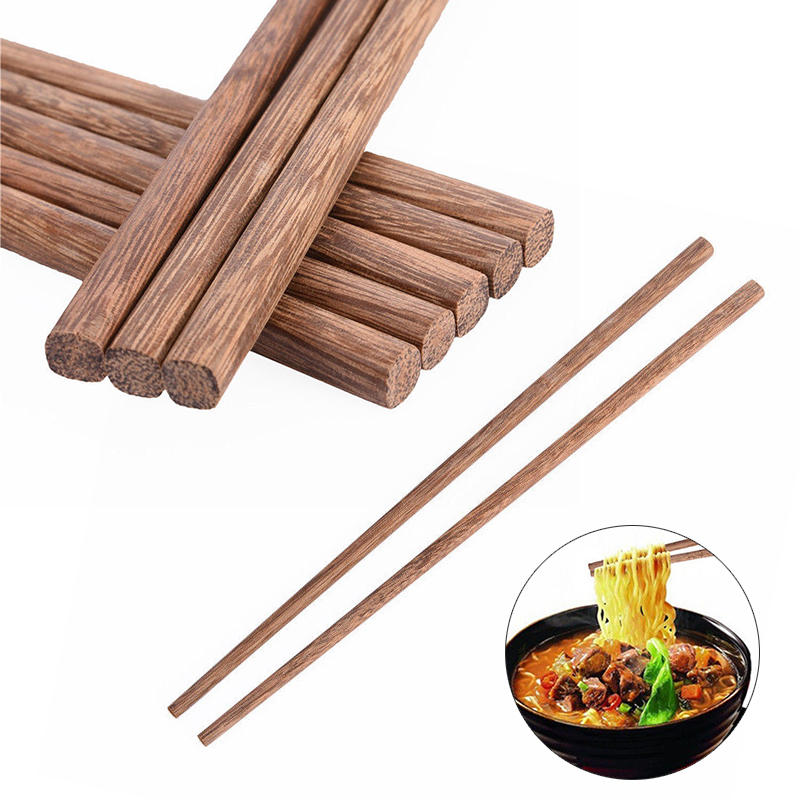Mayitr 10 Pairs Wood Chinese Chopsticks Wooden Japanese Style Sticks For Tableware Dinnerware Tools