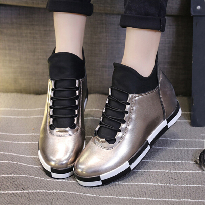 2015 Autumn Winter Fashion Women Casual Shoes PU Lace Round Flat Womens Boots Platform Red Silver Black Warm Women Shoes ZK3.5<br><br>Aliexpress