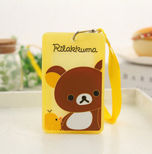 SIZE 10*6CM PVC Rilakkuma Bear Lady Girl Kid's BUS ID Card Holder Case Pouch ; With Neck String