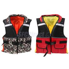 Adult Buoyancy Life Jackets Vest for Sailing Swimming Kayaking Canoeing Fishing Boating Water Sports Camouflage/Red