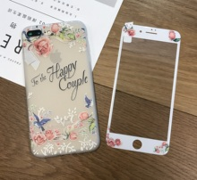 For iphone 7 case 3D Relief emboss TPU Cover + Tempered Glass Screen Protector for iPhone 6 6s Plus 7 7Plus flowers color film