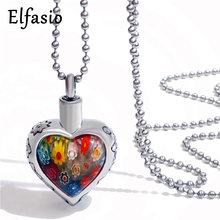 Womens Stainless Steel Pendant Necklace Murano Art Millefiori Cremation Keepsake Memorial Urn Chain Jewelry UP027(China)