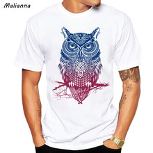 Malianna Fashion Men's Casual Short Sleeve Owl Printed T-shirt Cool Funny Men's Tee Shirts Tops Cotton Men's T-shirts GMS133(China)