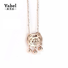 Yabel Chinese FU Lucky Necklaces & Pendants Gold Bell Accessories Necklace Best Gifts For Baby Children High Quality Jewelry(China)
