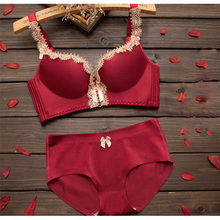 1pcs Sexy Lingerie Deep V Sexy Bra Panty Lace Gather Type Small Chest Underwear Women Set Push Up Bra Cup Thick Gather Bra Set(China)