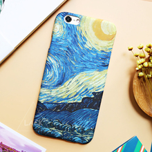 LACK Vintage Starry Sky Oil Painting Case For iphone 6 Case For iphone 6S Plus Cover Abstractionism Art Daisy Flower Phone Cases(China)