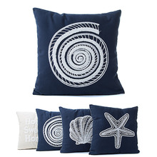 Pillow Case Canvas Conch/Shell/Starfish/Letter Embroidery Pillows Shell Bedroom Sofa Car Office Cushion Cover E2