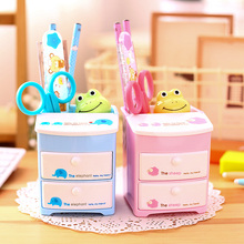 Cute multi-functional cartoon pen holder plastic storage layer cabinets drawer box office drawer storage box stationery decor