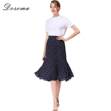 DOSOMA Lady Elegant Skirt Fashion Casual Patchwork Floral Print Midi Irregular Ruffles Trumpet Skirt Women Vintage Mermaid Skirt