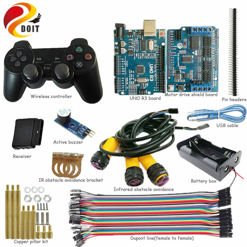 DOIT Wireless Handle/joystick Control kit for Robot Crawler Tank Car Chassis with Arduino IR Obstacle Avoidance DIY RC Toy<br>