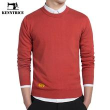 Kenntrice 2016 Appliques Label Fashion Sweaters Men Basic Sweater Red Pullovers Winter Slim Design Knitwear Solid Plus Size