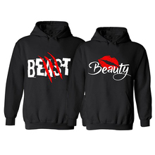 2017 BEAST AND BEAUTY Graphic Print Couple Hoodies Black Hooded Lovers Sweatshirt Autumn Sportswear Moletons Baseball Jersey(China)