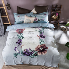 100% cotton comforter set,queen twin full size comforter bedding set,flowers printed comforter cover bed sheet pillowcase