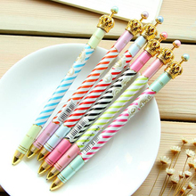 Colored Stripes Crown Pen Ballpoint Pens Office Stationery School Supplies for Writing 1Pcs(China)