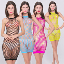 Buy 2017 Hot Sexy Costumes Porn Baby Dolls Women's Erotic Lingerie Underwear Hollow Mesh Body Stockings Mini Chemise Dress