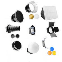 Universal Speedlite Flash Accessories Kit Adapter Mount+Barndoors+Snoot Standard Reflector+Diffuser Ball for DSLR(China)