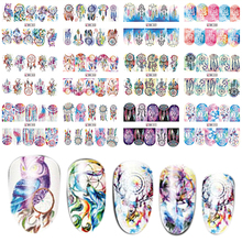 12 Style In 1 Set Colorful Mixed Design Full Cover Nail Art Water Transfer Sticker Nail Art Decoration Tool BEBN301-312(China)