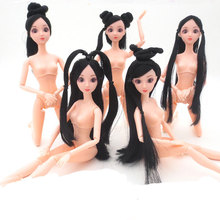 12 Moveable Joints Ancient Costume Doll With Head Braid 3D Eyes Antiquity Fairy Maiden Fay Hairstyle Naked Body Doll