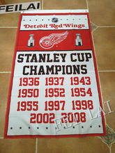 Detroit Red Wings Stanley Cup champions ship flag 100D polyester digital printed banner 150x90cm