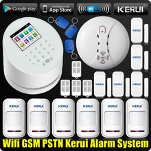 KERUI WiFi GSM PSTN Wireless for Home Shop Office House Sucerity Intruder Anti-theft Alarm System with Wireless Smoke Detector
