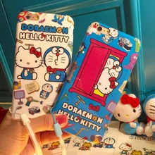 Japan Cartoon Cute Hello Kitty & Doraemon TPU Case Cover With Lanyard For Iphone6 6S 4.7inch