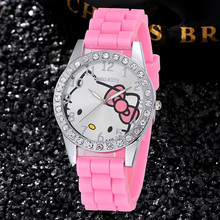 Hello Kitty Kids Clock Full Rhinestone Dial Fashion Cute Girls Dress Wristwatches Fashion Gift Watch Leisure Cartoon Bayan Saats