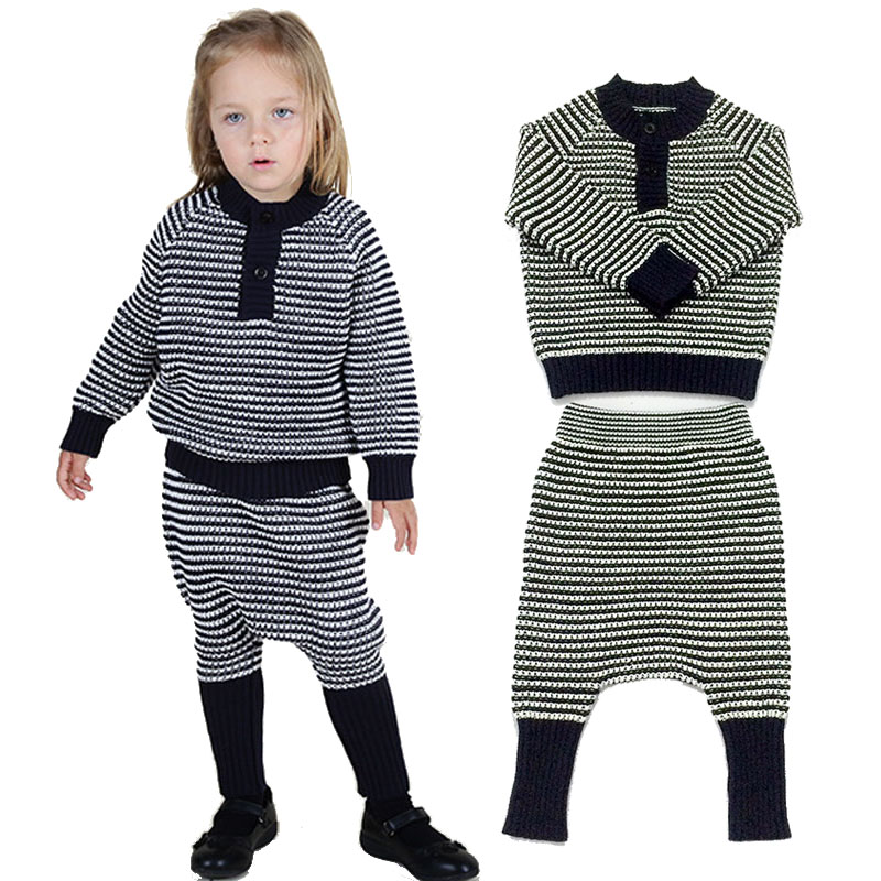 2017 Spring New 2pcs Baby Girls Clothing Sets Kids Wool Knitted Stripe Pullover Sweater Top + Harem Pants Suits Children Outfits<br>