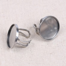 reidgaller 5pcs 25mm cabochon ring base stainless steel blank metal rings bezel tray diy jewelry findings(China)