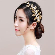 Gold Tiara Noiva Pearl Jewelry Wedding Headband Baroque Hair Jewelry Bridal Hair Accessories Ornaments Crown Cheveux WIGO0520