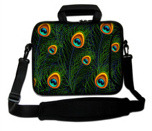 "10""13""14""15""17"" Neoprene Green Peacock Tail Type Computer Shoulder Messenger Cover Forder Notebook Sling Sleeve Pouch For Intel"