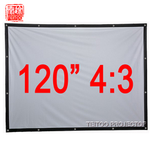 120 Inches 4:3 Fast Fold Wall Mounted Matt White Portable Projection Screen Curtain Film for LCD LED DLP HD Movie Projectors