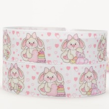 NEW 50 yards white lively Big ear rabbit printed grosgrain cartoon ribbon free shipping(China)