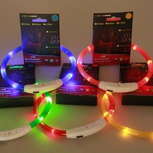 Factory Price! Rechargeable USB LED Flashing Light Band Belt Safety Pet Dog Collar