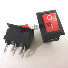 10pcs/lot 3 Pin 6A 250V Red Button Rocker Switch On - On Import Rocker Power Switches