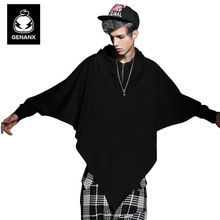 Genanx Brand Stylist Original Hooded Bat Clothes Loose Long-Sleeved T-Shirt Male Thin Tide Size M-Xxl