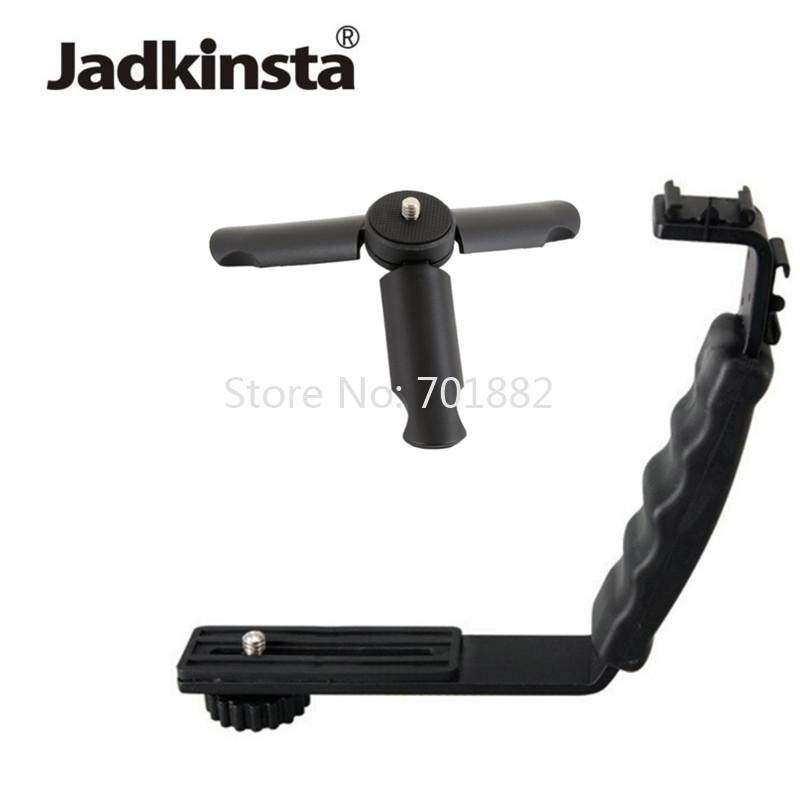 Jadkinsta L Bracket Stand With 2 Hot Shoe + Mini Tripod for ZY Smooth Q Stabilizer Feiyu Gimbal BY-MM1 Microphone Video Light