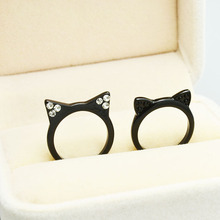 New fashion accessories jewelry cute black kitty Cat ears finger ring for women girl nice gift R1498