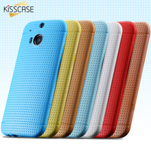 KISSCASE For HTC One M8 Case Slim Silicone Cover For HTC One M8 Honeycomb Spot Protective TPU Cover For HTC One M8 Coque Fundas